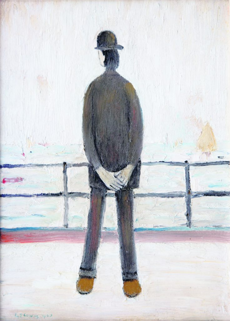"""L.S. Lowry, Man Looking Out to Sea,1963, Oil on Board, 14"""" x 10"""